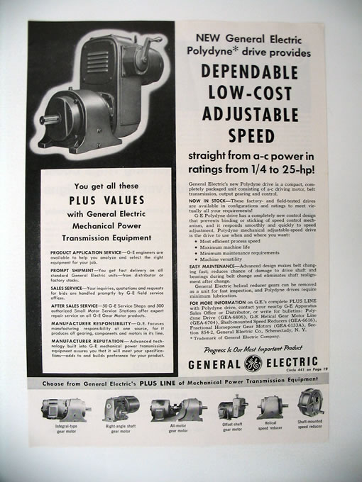 GE General Electric Polydyne Drive Unit 1959 print Ad