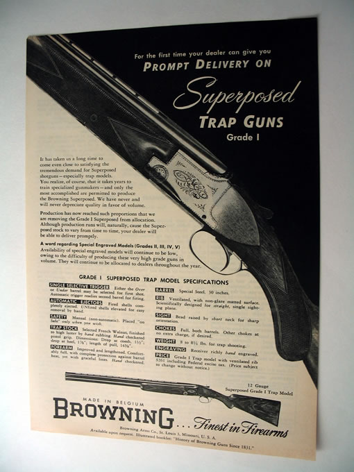 Browning Superposed Trap Guns Grade I 1953 print Ad on PopScreen
