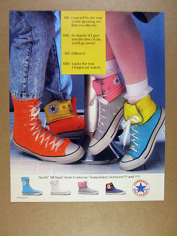 Details about 1987 Converse Neehi All Stars orange gray turquoise chuck taylor shoes print Ad