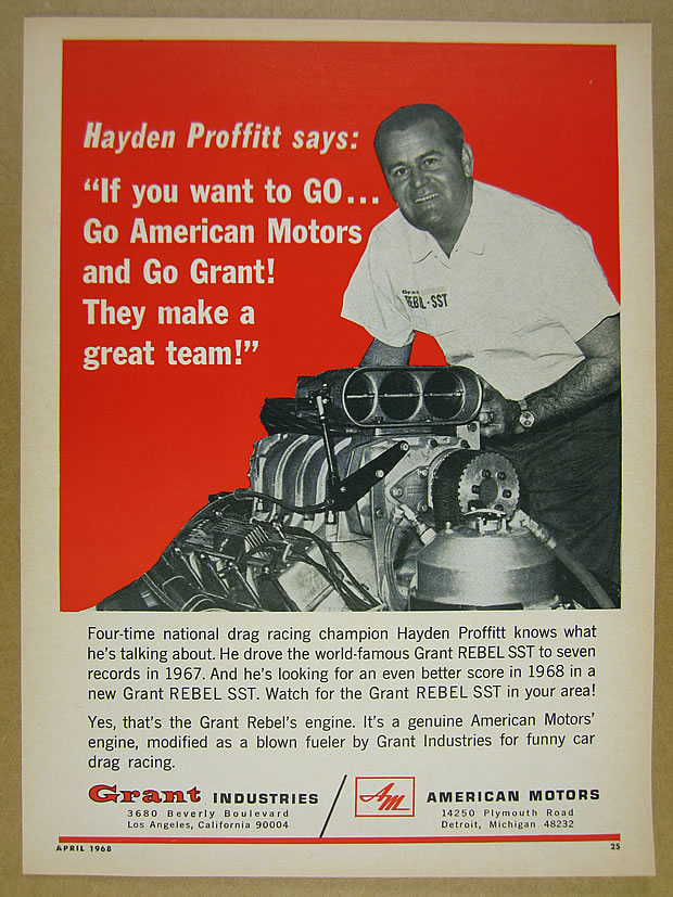 1968 hayden proffitt amc grant rebel sst engine photo vintage packaging item packed flat in a stiff cardboard mailer and then sealed in a waterproof poly mailer sciox Images