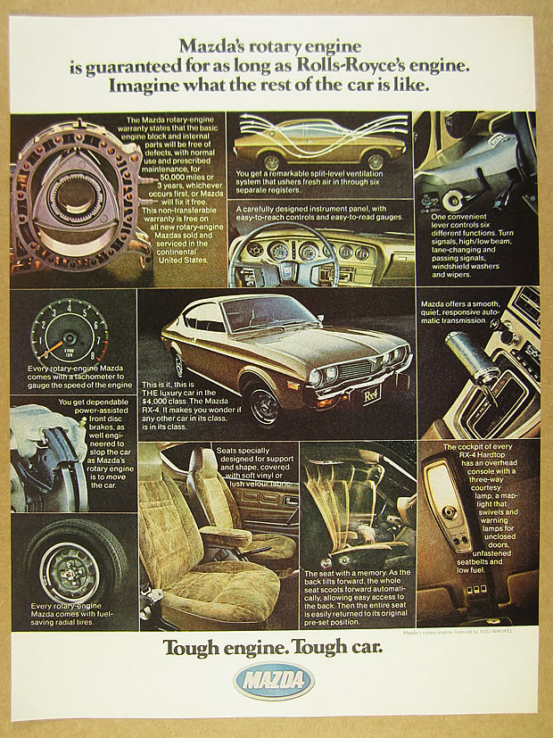 1975 Mazda Rx-3 Rx3 Rotary Original Car Advertisement Print Ad J178