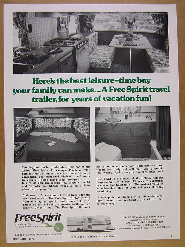Details about 1976 Holiday Rambler FREE SPIRIT Travel Trailer interior  photos vintage print Ad