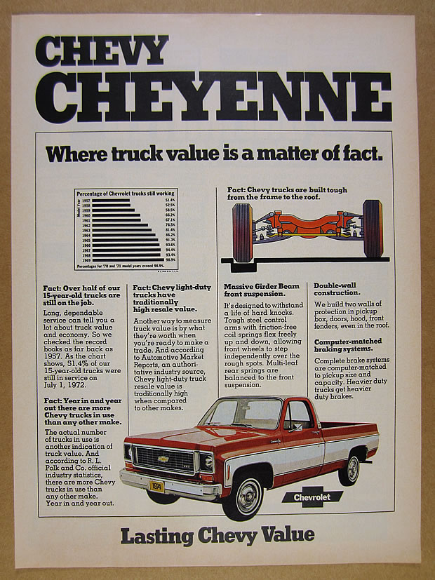 1974 Chevrolet Chevy CHEYENNE Pickup Truck color photo vintage print ...