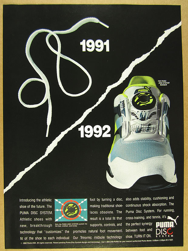 Details about 1992 Puma DISC SYSTEM Running Shoes photo laceless closure vintage print Ad