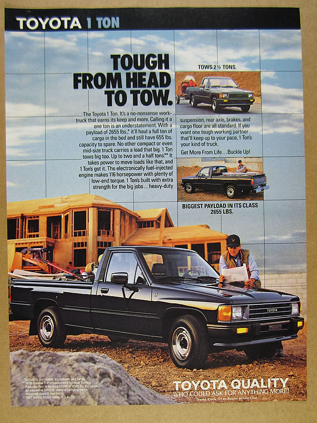 Details about 1988 Toyota 1 Ton Pickup Truck home builder photo vintage  print Ad