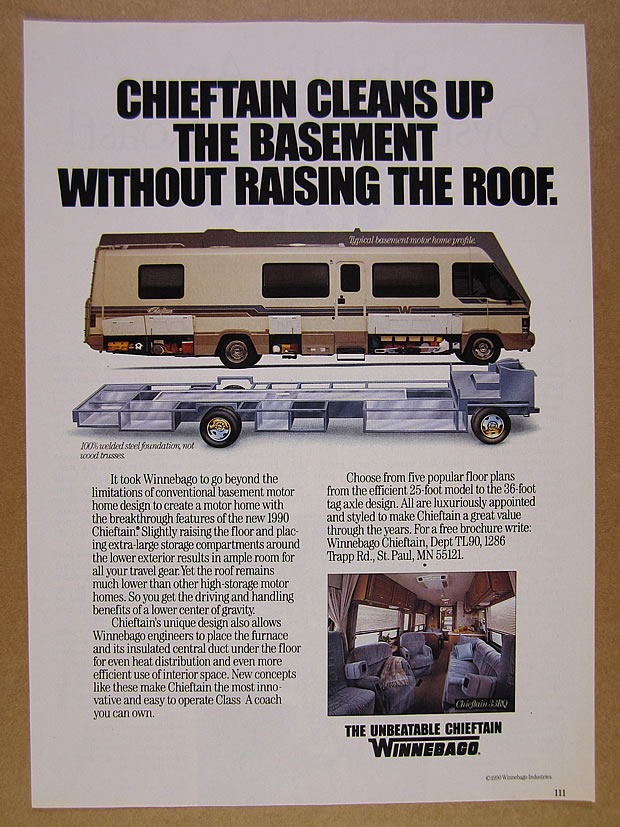 Details about 1990 Winnebago Chieftain RV Motorhome color photo vintage  print Ad