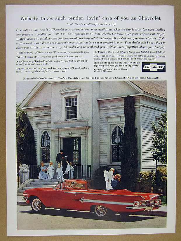 Details about 1960 Chevrolet IMPALA Convertible red car church photo  vintage print Ad
