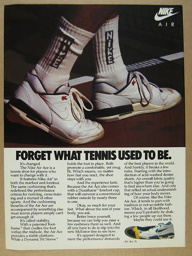 Exclusion Neighborhood cement  1988 Nike AIR ACE & 3/4 Tennis Shoes 2 page vintage print Ad | eBay