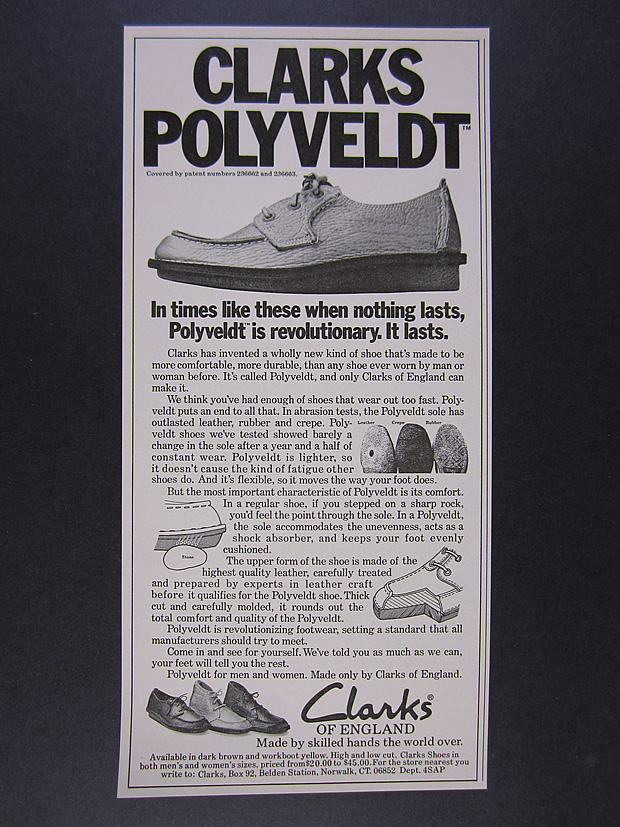 Details about 1976 Clarks of England Polyveldt Shoes vintage print Ad