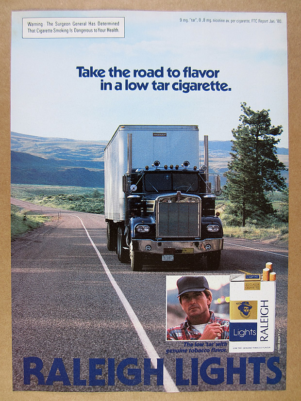 Details about 1980 Kenworth W900 semi truck photo Raleigh Lights Cigarettes  vintage print Ad