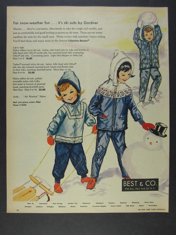 Details about 1963 Best & Co  Liliputian Bazaar Ski Snow Suits kids playing  art vintage Ad