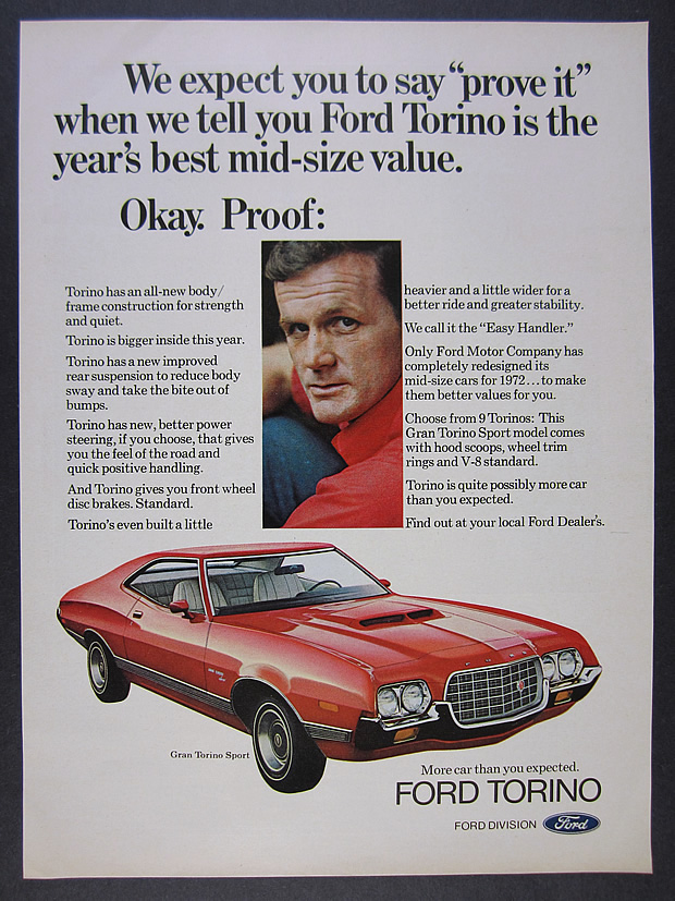 1972 Ford Gran Torino gold coupe Classic Vintage Advertisement Ad H92