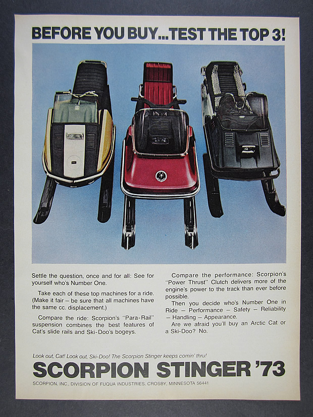 Details about 1973 Scorpion Stinger Snowmobile compared to Ski-Doo Arctic  Cat vintage print Ad