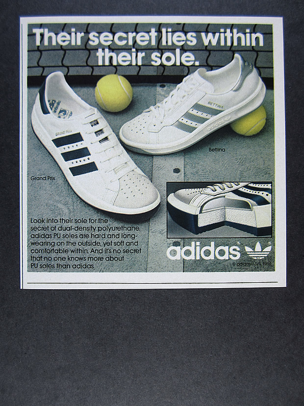 5be0172e3a3a3 Details about 1984 Adidas Grand Prix   Bettina Tennis Shoes vintage print Ad