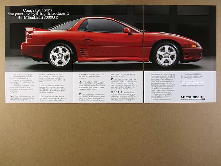 1991 Mitsubishi 3000gt Vr 4 Red Car Photo Vintage Print Ad Ebay