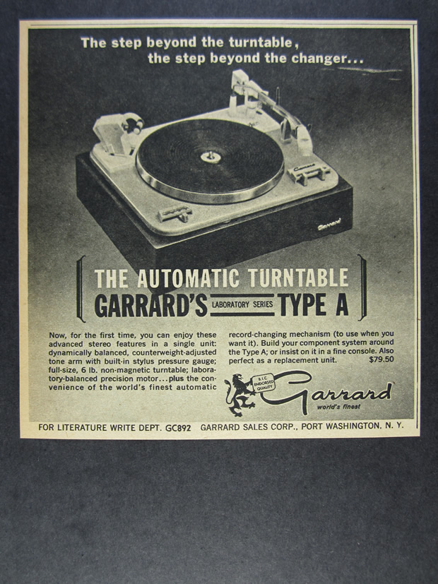 Details about 1962 Garrard Type A Turntable vintage print Ad