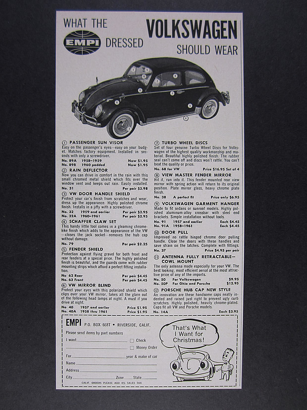 Details about 1961 EMPI Volkswagen VW Beetle Parts Accessories vintage  print Ad