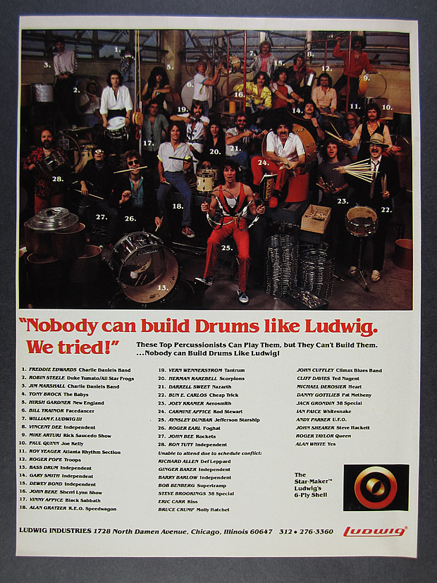 Details about 1982 Ludwig Drums Top Drummers Percussionists group photo  vintage print Ad