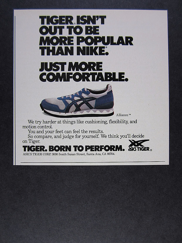 Details about 1984 Asics Tiger Alliance Running Shoes vintage print Ad
